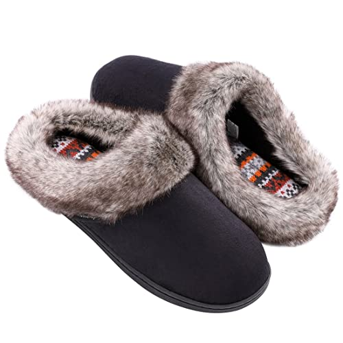 a1b0a428a Women's Furry Memory Foam Slippers Micro Suede Faux Fur House Shoes with  Yarn Knit Lining &