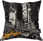 Moslion New York Pillow Decorative Throw Pillow Cover Vintage New York