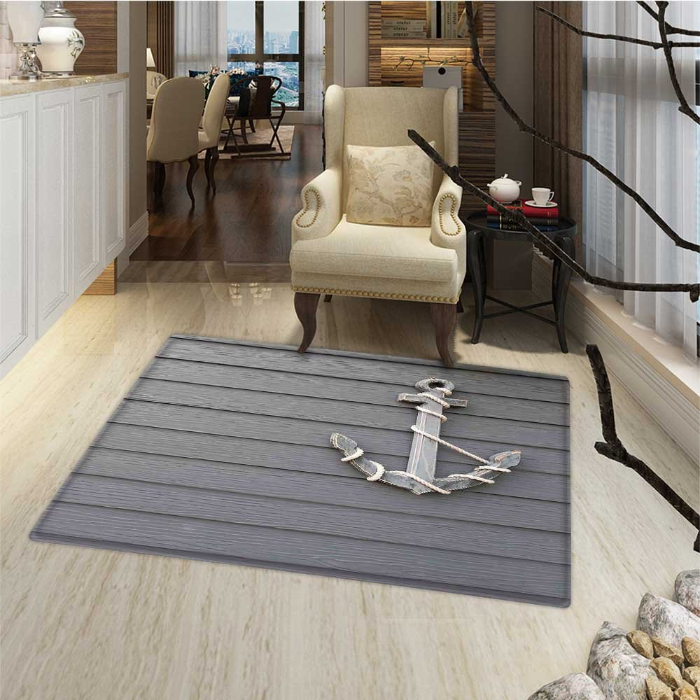 Anchor Door Mat outside Wooden Anchor with the Rope on the Wall Antique Navy Nature Adventure Themed Artwork Bathroom Mat for tub Non Slip 20''x32'' Brown