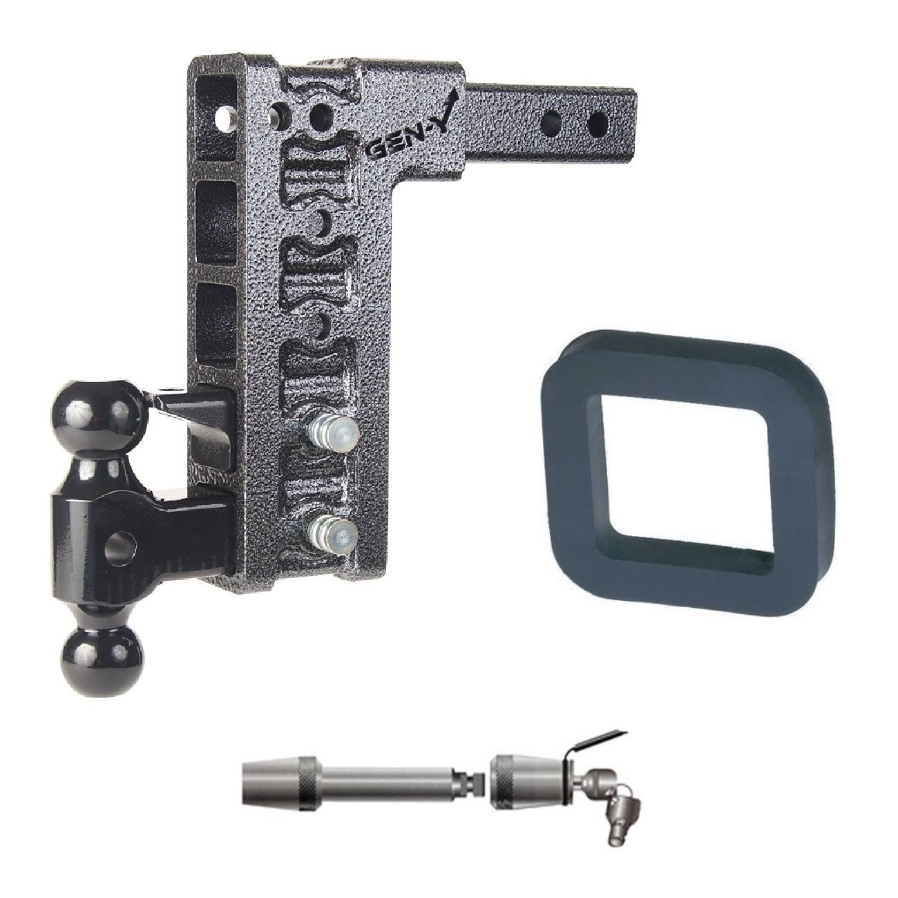 GEN-Y Hitch GH-325 Class IV 2'' Receiver 10'' Drop Hitch 10K Towing w/ 2'' Silencer Pad & Premium 5/8'' Extended Receiver Lock Bundle