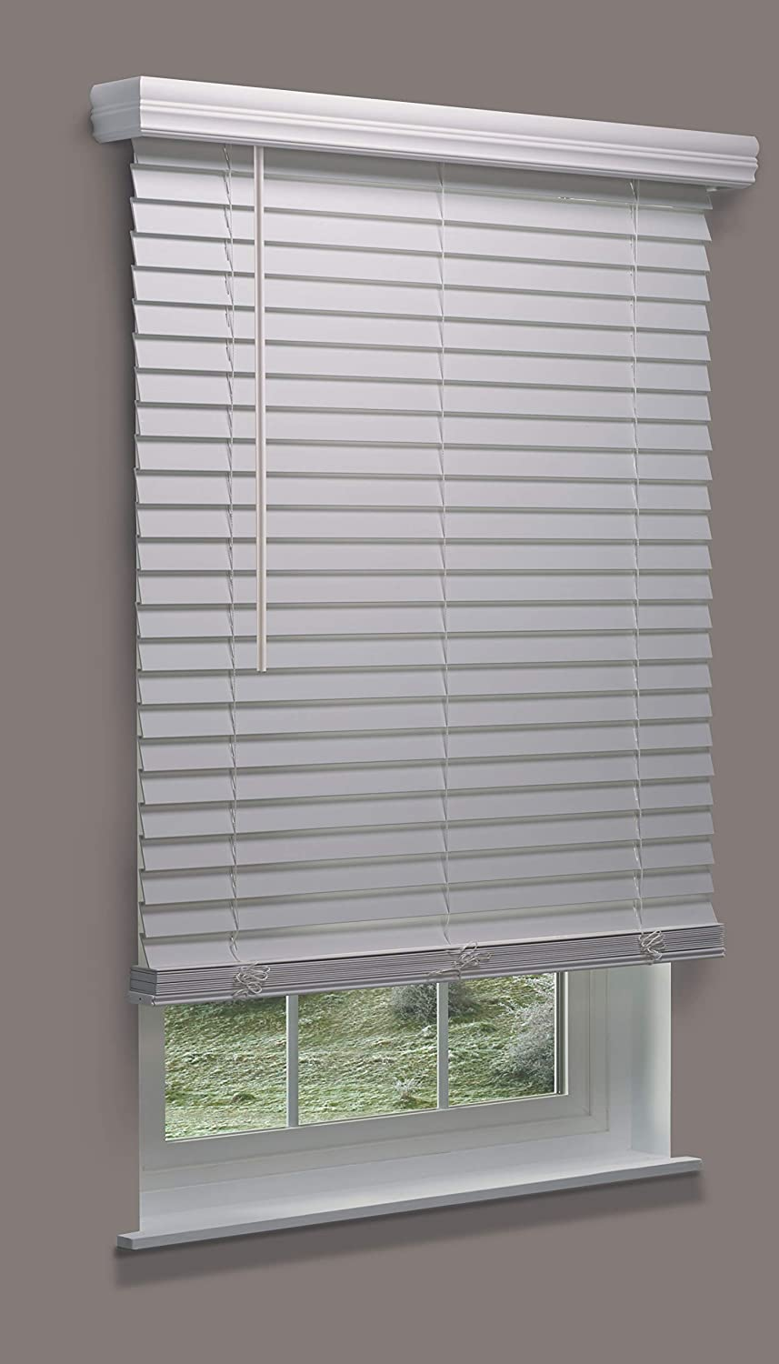 Linen Avenue Custom Cordless Faux Wood Blind White 44 1//2 W x 60 to 64 H Outside Mount