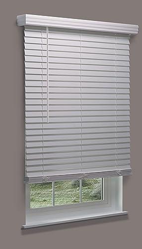 Linen Avenue Cordless Customizable White Faux Wood Blind
