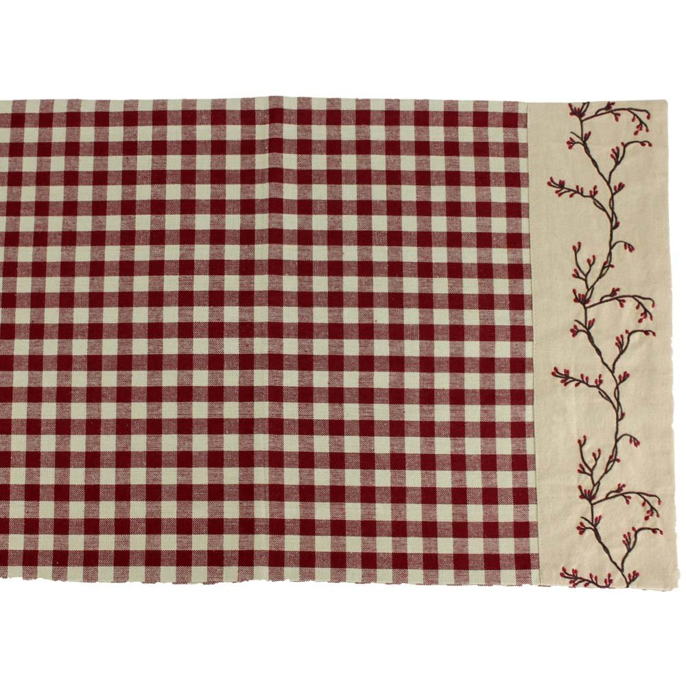 Primitive Home Decors Berry Vine Check Table Runner - Barn Red