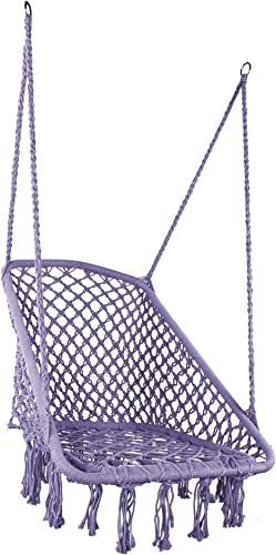 LAZZO Square Hammock Chair Hanging Knitted Mesh Cotton Rope Macrame Swing,with Hanging kit and Chain