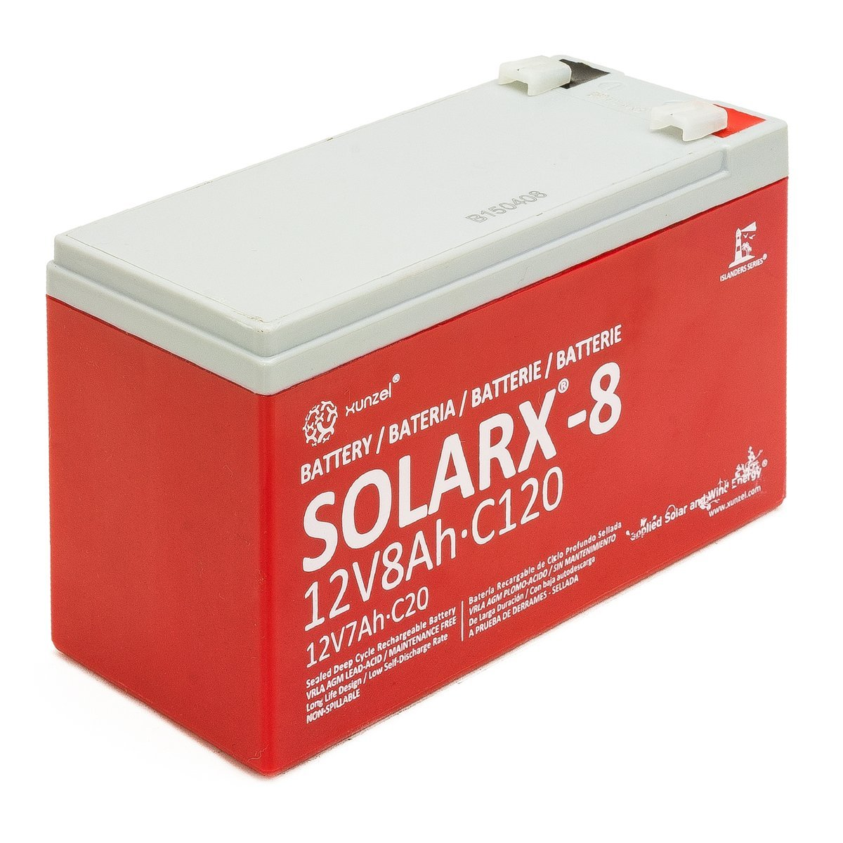 Xunzel Deep Cycle baterí a solar 12 V, 1 pieza, solarx de 8 1pieza SOLARX-8