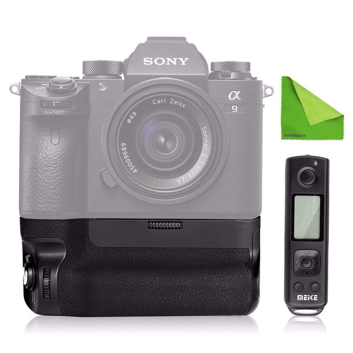Meike MK-A9 PRO / MK-A7R-III PRO Battery Grip as VGC3EM for Sony A9 A7R III Built-in 2.4GHz Remote Controller Up to 100M to Control shooting Vertical-shooting Function w/ EACHSHOT Cleaning Cloth