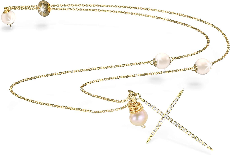 Colgante Collar Cruz Perla Cadena de Suéter Adjustable Oro 14K Dijes Mujer Niñas Navidad Regalos