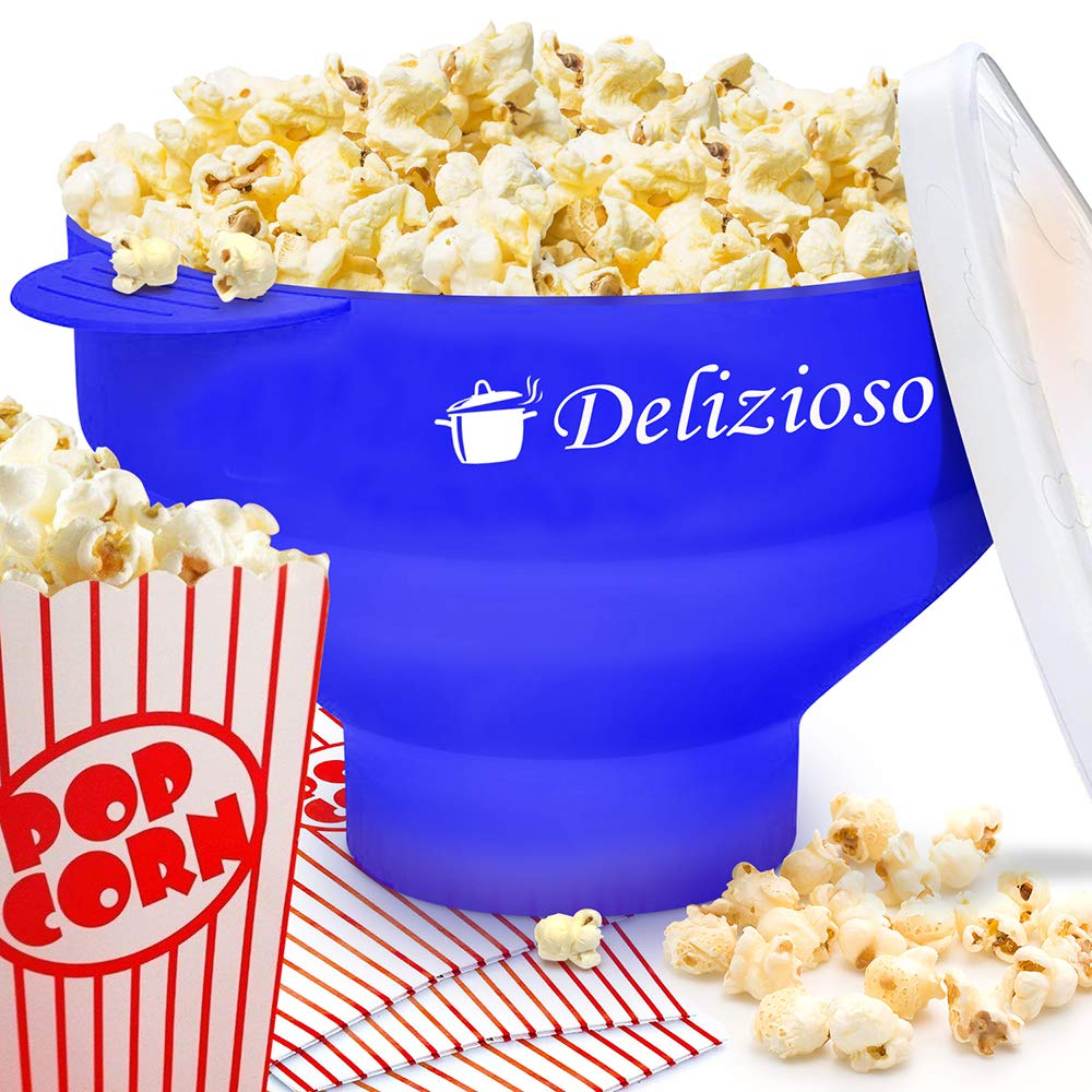 Delizioso The Original Microwave Popper, 4 High Quality Cups and Popcorn Recipes E-BOOK Included, Collapsible Bowl, FDA Approved, No BPA (Blue), by Delizioso