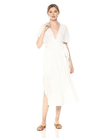 081445c1142b0 ASTR the label Women's Sierra Casual Flowy MID Length Cap Sleeve Dress,  White Taupe Stripe