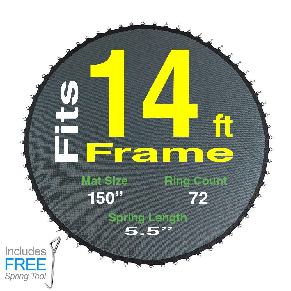 Trampoline Pro Replacement Parts for 14 ft Frame with 72 Spots | Fits Sportspower BouncePro Model Found in Walmart (150'' Mat for 14Ft Frame)