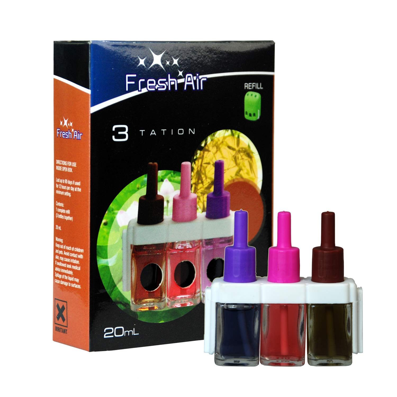 1 x Myst 20ml Fresh Air 3tation Air Freshener Plug in Refills - Alternates Every 45mins Through Lavender & Camomile, Lotus & Linum & Bamboo Scents