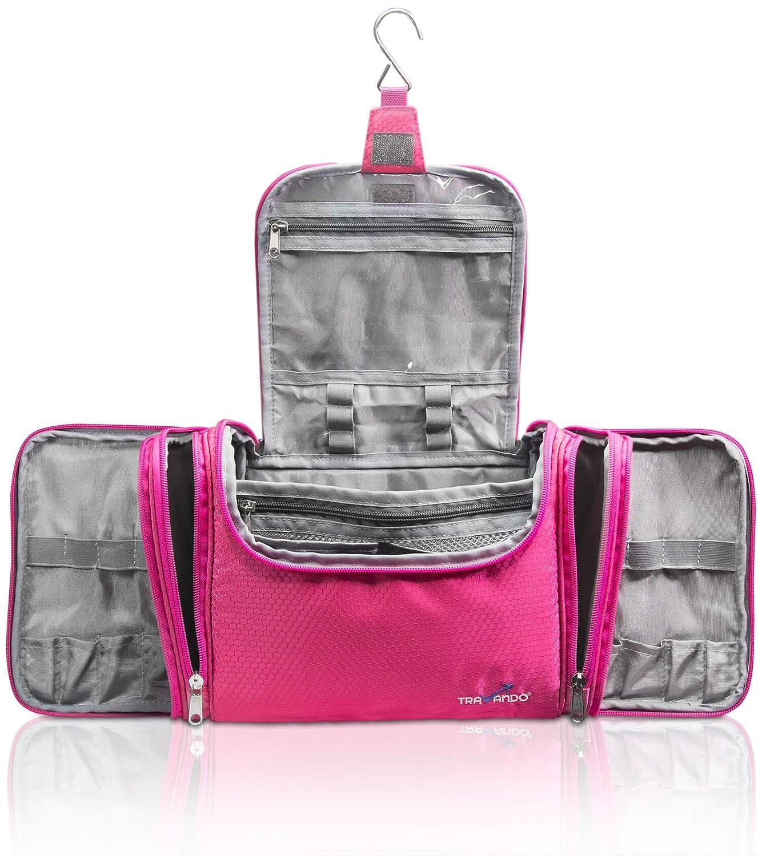 TRAVANDO XXL Toiletry Bag for Women MAXI with Hanging Hook – Large Wash Bag – Many Pockets – Travel Set, Travel Toiletry Kit Cosmetics Makeup Big Toilet Organizer Suitcase Luggage