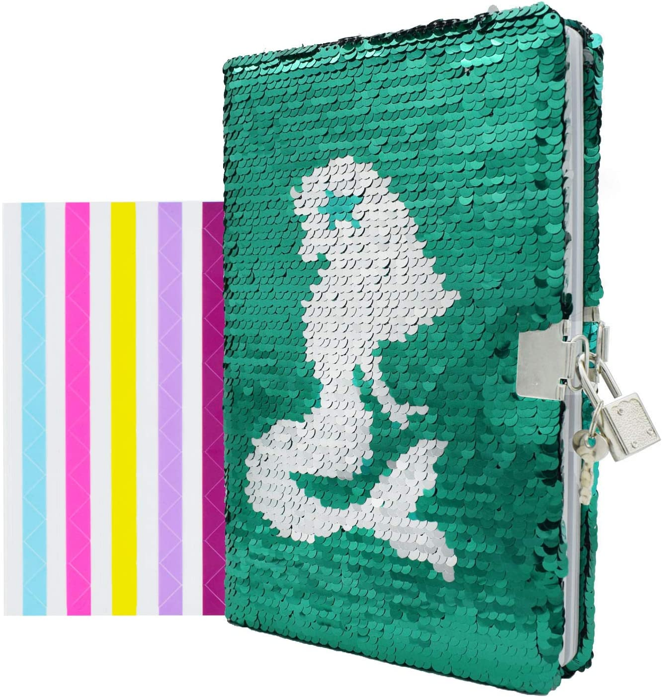 MHJY Unicorn Notebook Sequin Secret Diary with Lock,Reversible Mermaid A5 Notepa