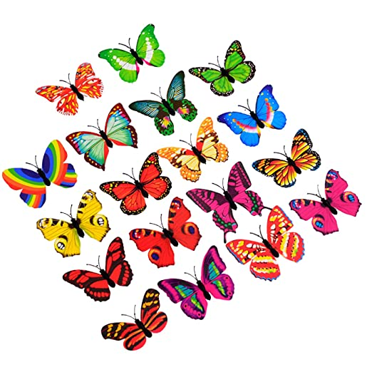 JINGBOSHI 12PCS Butterfly Lights, Flashing Colorful 3D Butterfly Wall  Stickers for Girl Bedroom Baby Kids Toy Gift, Creative LED Small Lamp Night  ...