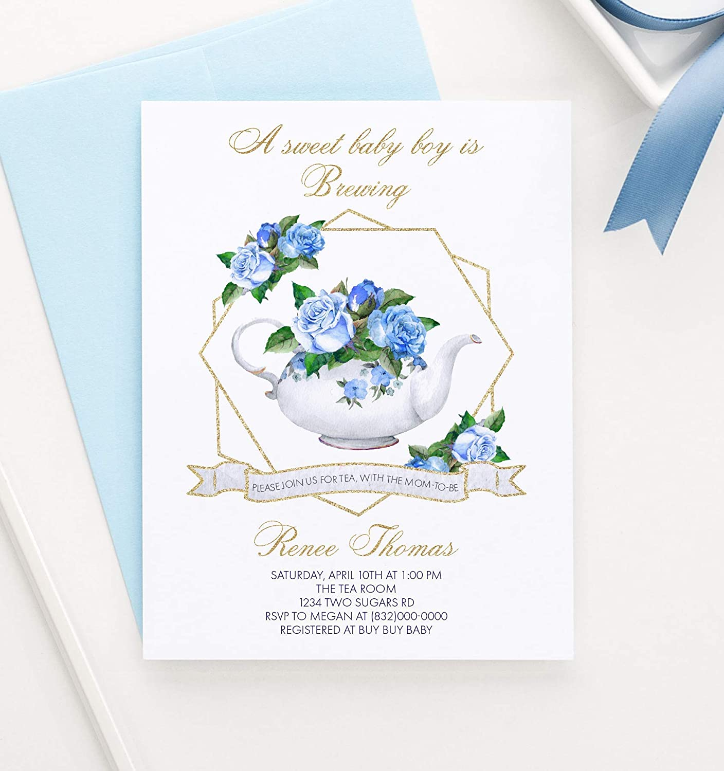 Your choice of Quantity and Envelope Color Personalized Baby Shower Invitations Boy Tea Party Baby Shower Invitations Boy