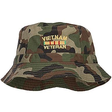 89b82475797 E4hats Vietnam Veteran Embroidered Bucket Hat - Camo OSFM at Amazon ...