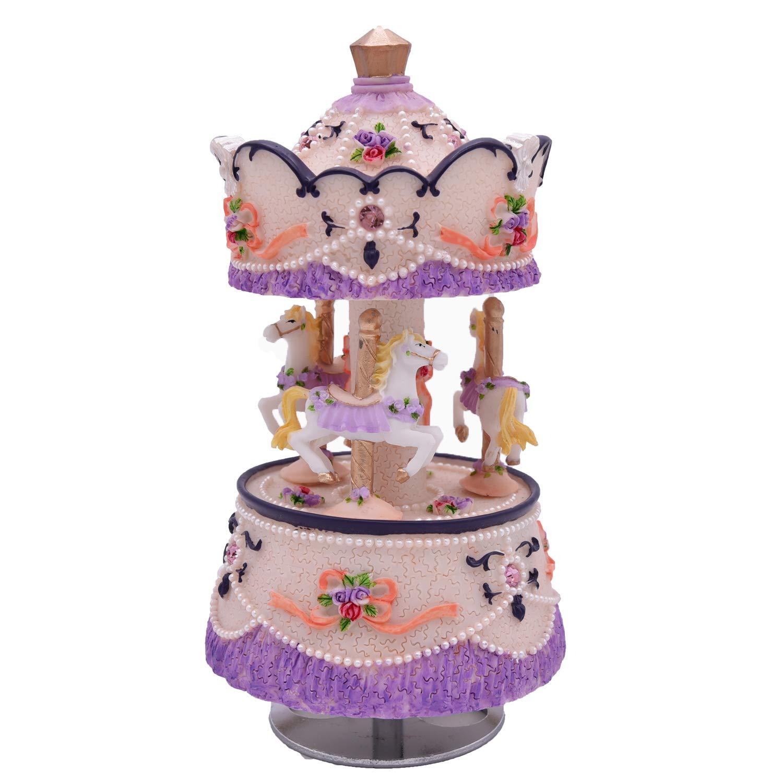 注目のブランド [ラグジュリー]Laxury Clockwork Mechanism 3horse the Carousel Music Box with Purple LED Purple lights Melody Carrying You from Castle in the Sky MP336+LED [並行輸入品] B014W18MGQ Purple Purple, ビジョンダイレクト:c6ea5487 --- arcego.dominiotemporario.com