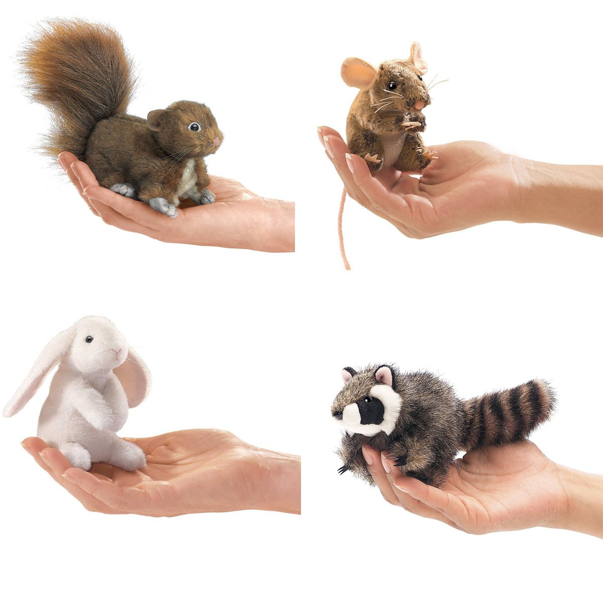 Folkmanis Mini Woodland Creatures Finger Puppets Bundle: Red Squirrel, Field Mouse, Raccoon, Lop Earred Rabbit