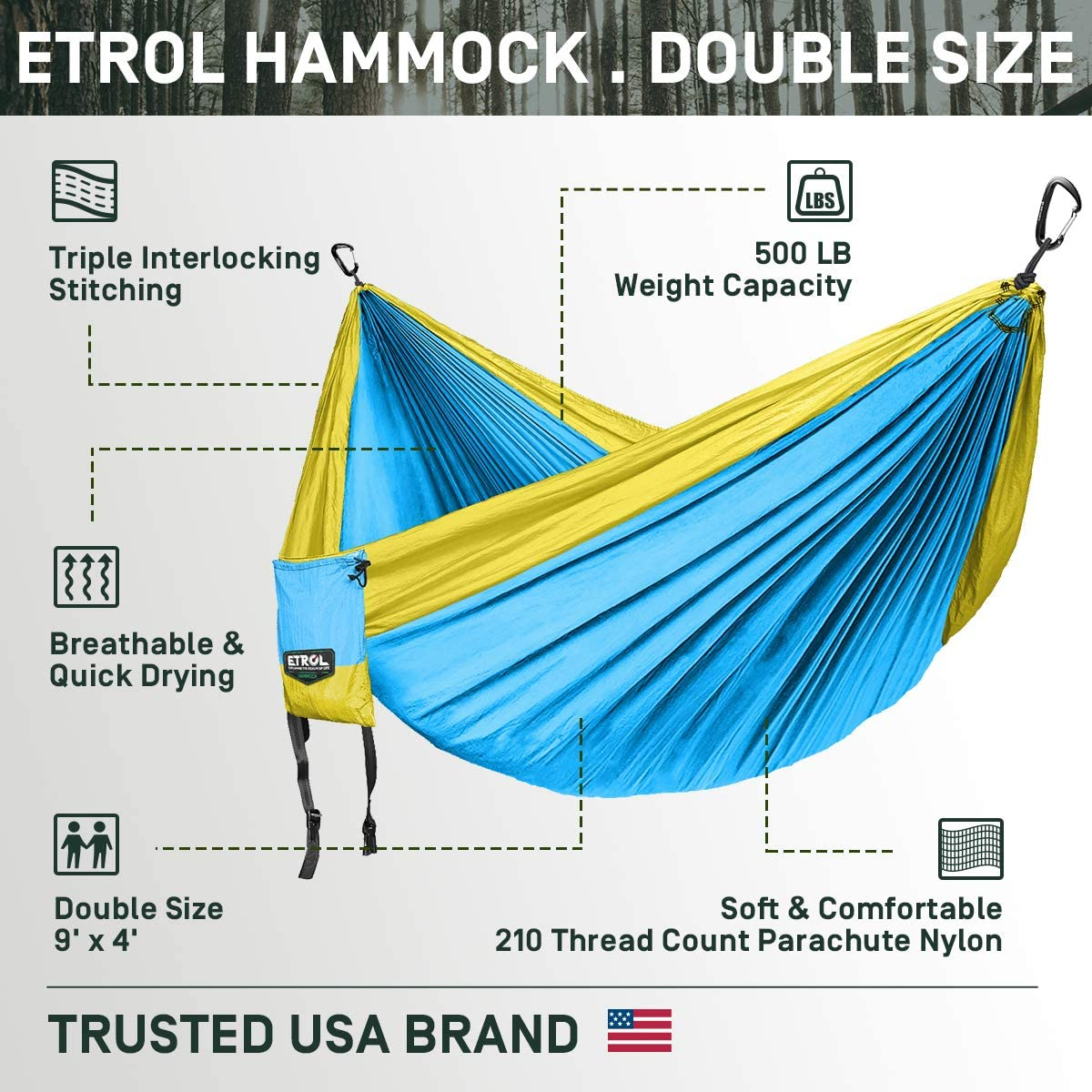 ETROL Upgraded 2 in 1 Large Camping Hammock or Only Mosquito Net, Pop-Up Lightweight Portable Hanging Hammocks with Tree Straps, Swing Sleeping Hammock Double for Outdoor, Hiking, Backpacking, Travel