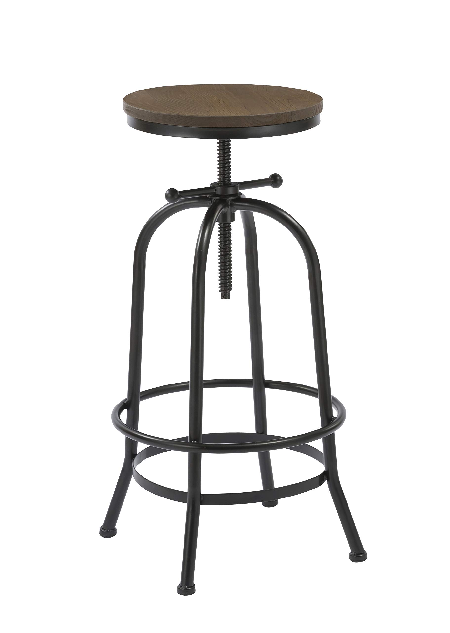 BTExpert 5083 27-35 inches Distressed Industrial Swivel 30'' Adjustable Counter Bar Height Pub Stool Wood