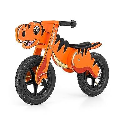 Lasse spela–Roue en bois de Dino au design Dinosaure Hauteur réglable, 82x 51x 39cm, Orange