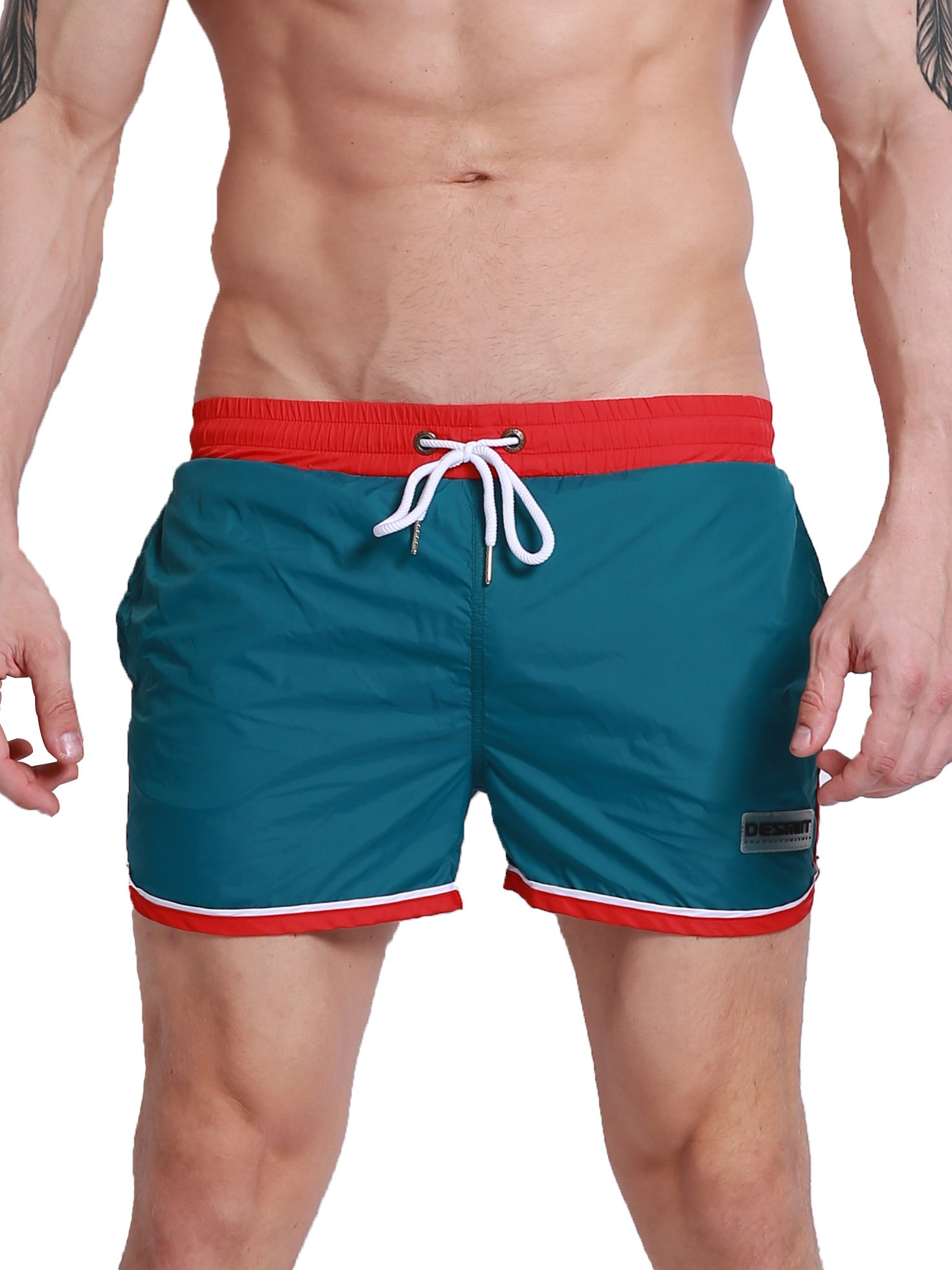Neleus Mens Athletic Shorts with Pockets, 0803  Green, USA M , Asia XL(Fit Waist:32-34 inches)