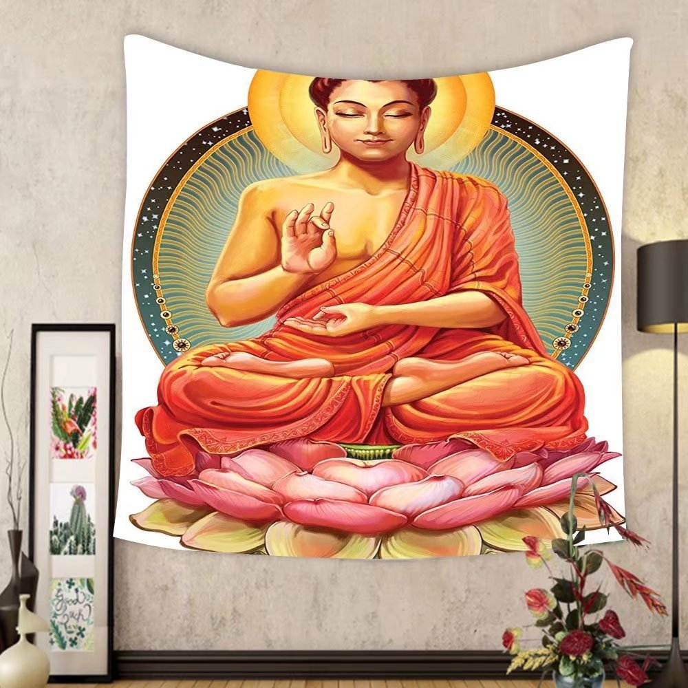 Gzhihine Custom tapestry Ambesonne Meditation Decor Collection Sanctuary Health Spa and Good Energy Lotus Flower Picture Print Bedroom Living Kids Girls Boys Room Dorm Accessories Tapestry Pink Orange