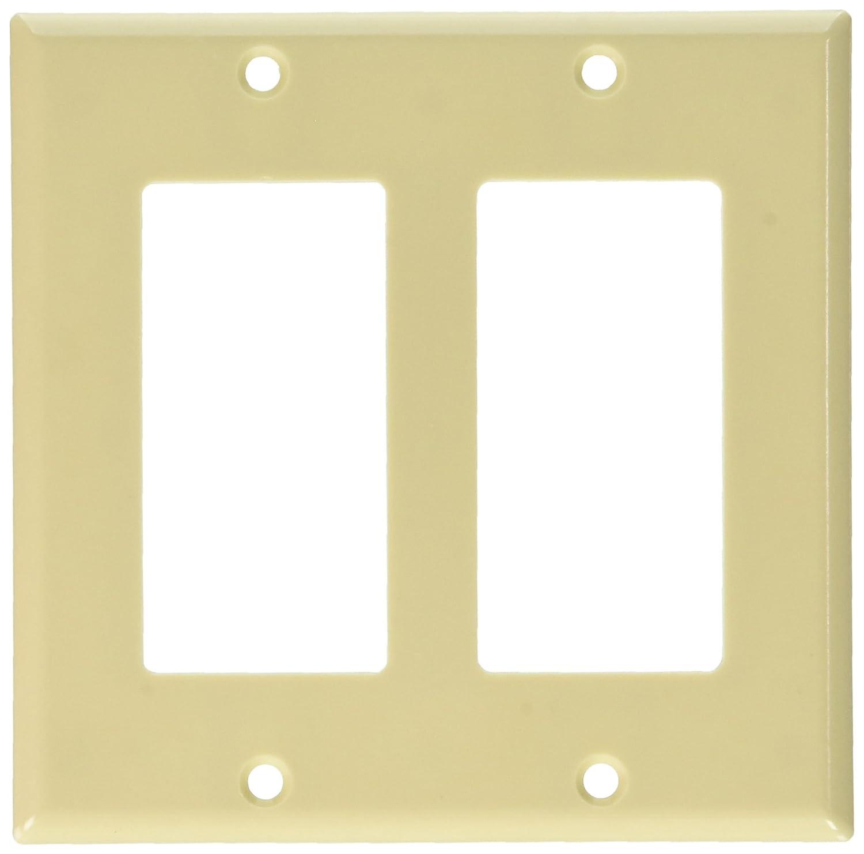 Leviton 80409-NW 2-Gang Decora/GFCI Device Wallplate, Standard Size ...