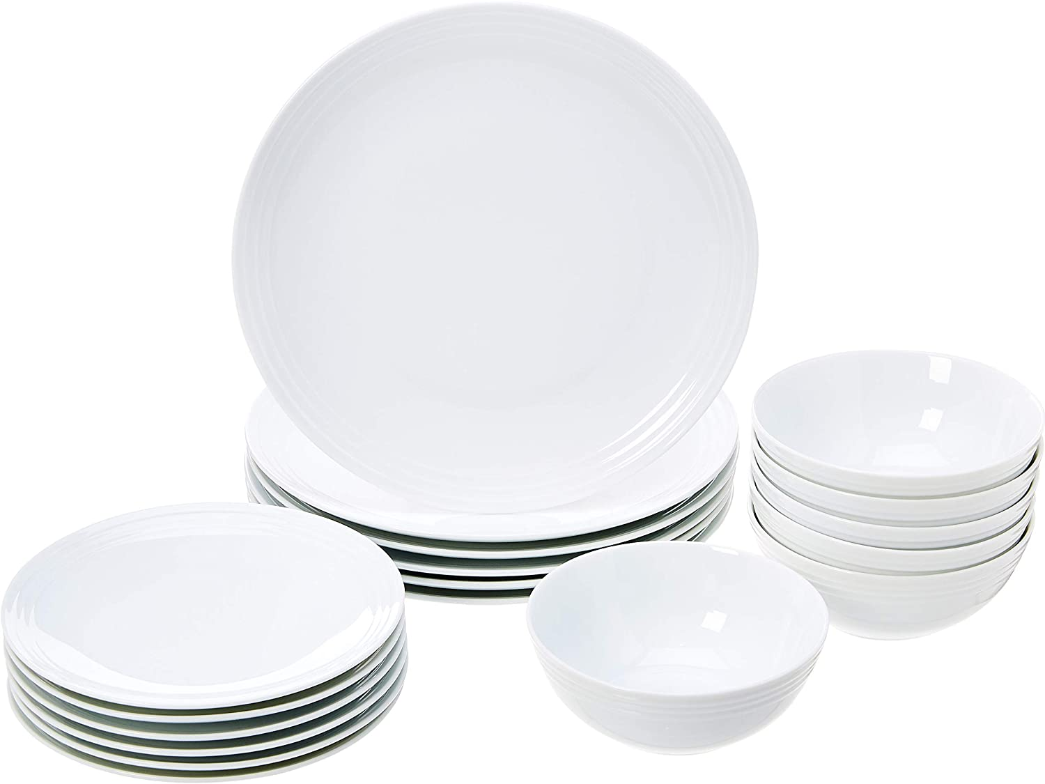 AmazonBasics 18-Piece Kitchen Dinnerware Set, Plates, Dishes, Bowls, Service for 6, White Embossed Porcelain