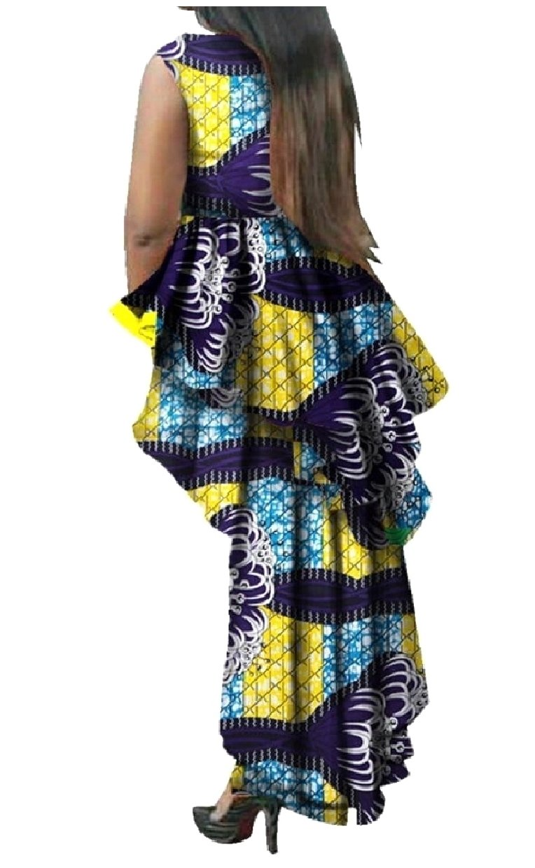 SexyBaby Womens Plus Size Fine Cotton African Style Ruffle Maxi Dress Sapphire Blue 4XL