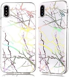 Girlscases® | iPhone XR Hülle Marmor Schutzhülle mit Muster aus Silikon | Marmor/Marble Aufdruck/Motiv Glänzend | Farbe: Weiß/Silber / Gold/Rosa