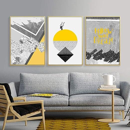 Nordique Affiche Affiches Et Gravures Abstraites Jaune Géométrique Peinture Mur Photos Pour Salon Affiche Quadri Quadro Sans Cadre 50x70 Cm