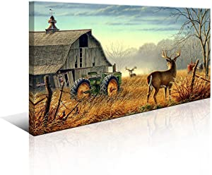 Deer Wall Art for Living Room Canvas Prints Decor Decoration Deer Tractor Farm Wildlife Hunting Picture Glass Surface Artwork Ready to Hang for Bedroom Home Office 20x40