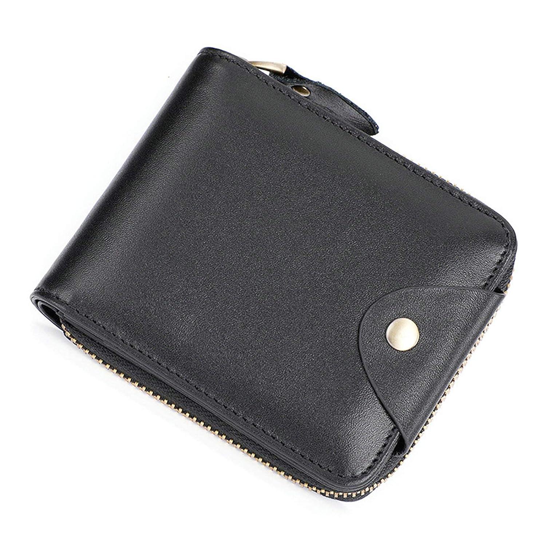 AmDxD Wallet Mens Leather H Black Wallets Bifold Wallets 12x2.5x10CM