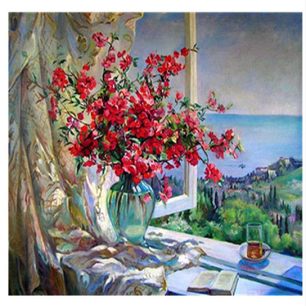 120x160cm  kongjingjing Peinture à l'huile de Bricolage par numéro Kit Paint Paintworks   Fleur et Livre, 100x180cm Art Photo Dessin avec brosses décorations Cadeaux