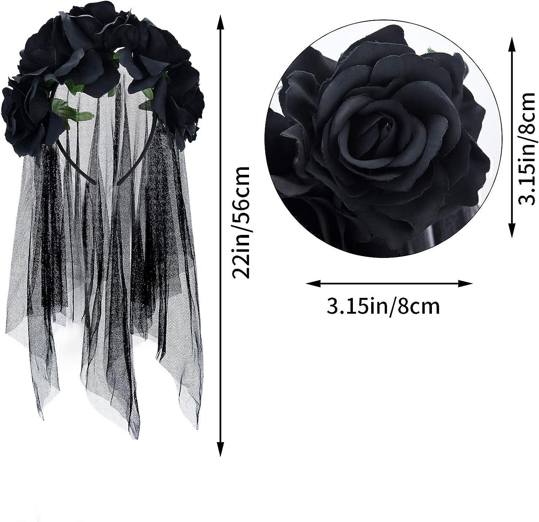 Halloween Veil Headband Day of The Dead Floral Crown Mexican Headband