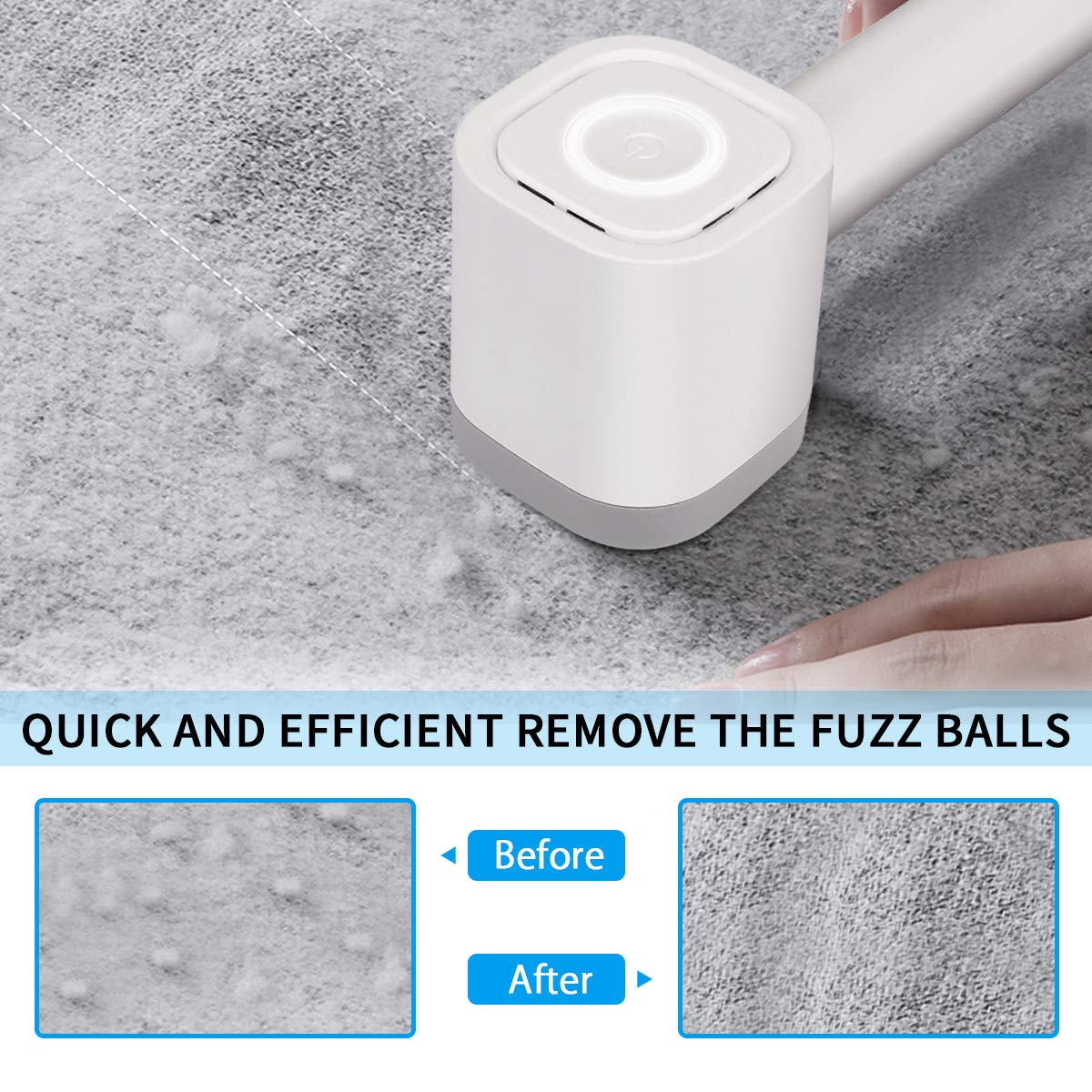 Fabric Shaver, Electric Lint Remover with Sticky Hair Ball & USB Charging Cord Removeable,Dual Protection for Clothes,Quickly and Effectively Remove Bobbles,Fluff,Fuzz,Balls (White)