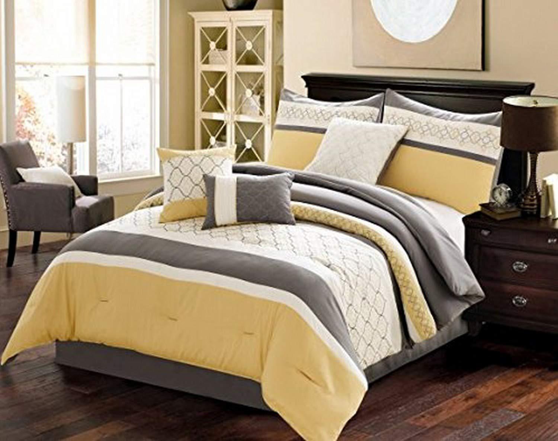 Verdugo Comforter Set, Queen, Yellow/Grey, 7 Piece