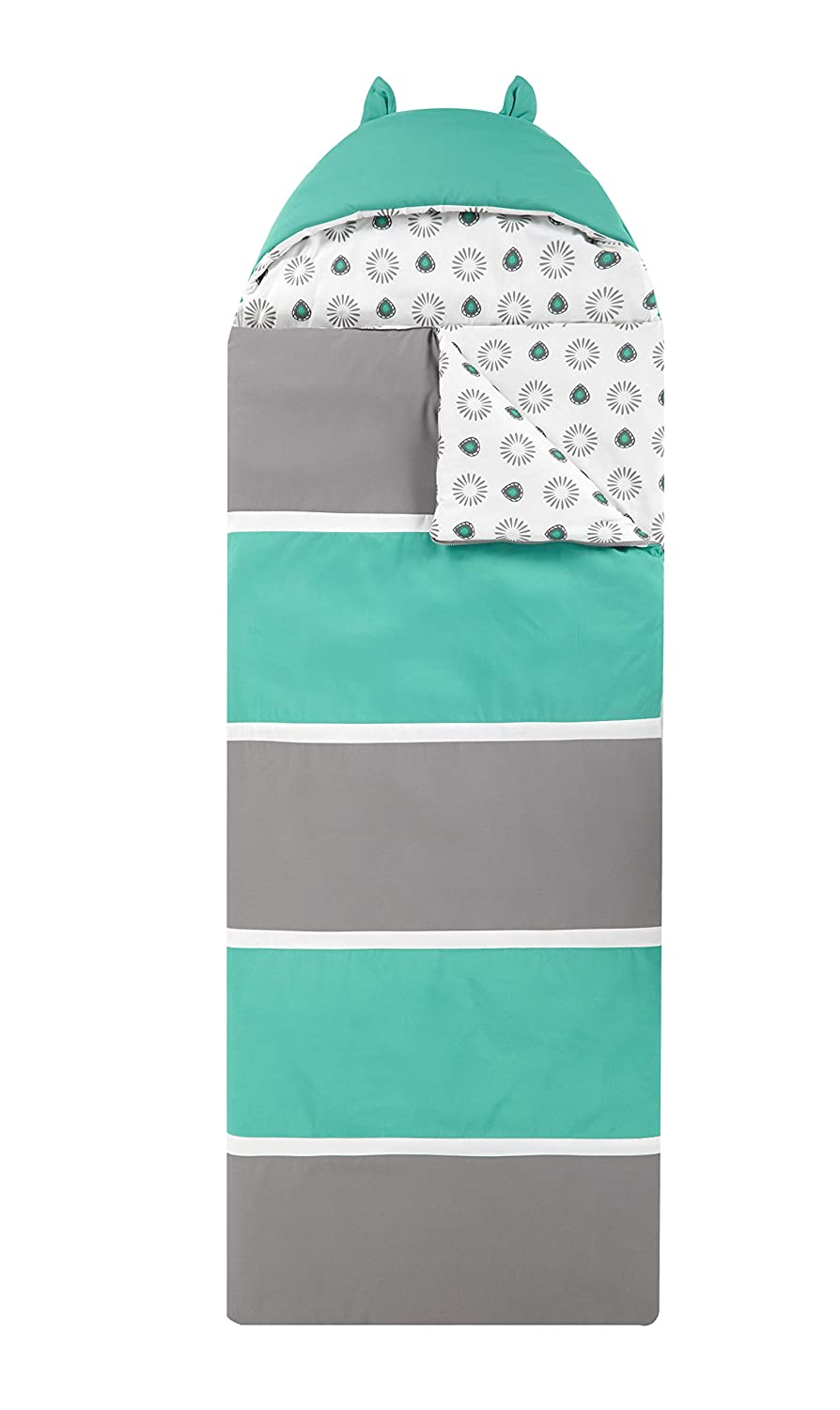 Twin X-Long Grey//Aqua Chic Home Hayes Sleeping Bag with Cat Ear Hood Two Tone Design with Geometric Pattern Print Interior for KidsTeens /& Young Adults Zipper Closure