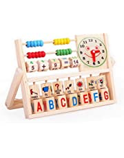 Baby Early Educational Learning Wooden Clock Alphabet Abacus Toy