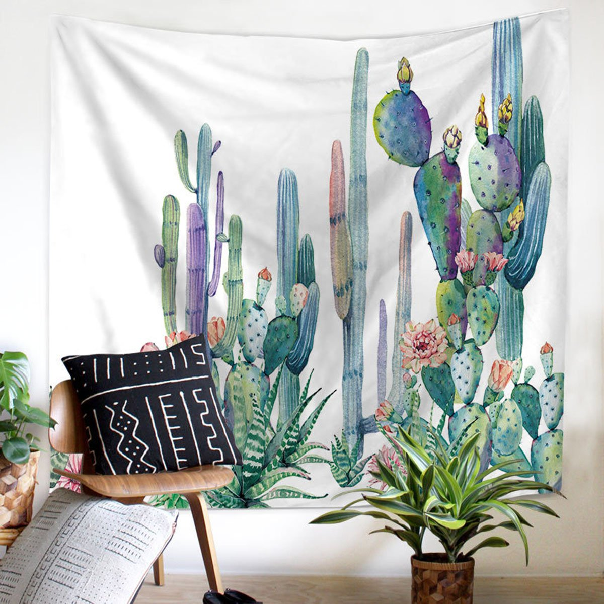 Shukqueen Tapestry, Cactus Decor Tapestry Wall Hanging Decor Art Home Decor, Green and Purple Watercolor Printed Bedroom Living Room Dorm Wall Hanging Tapestry Beach Throw 51H x 60W
