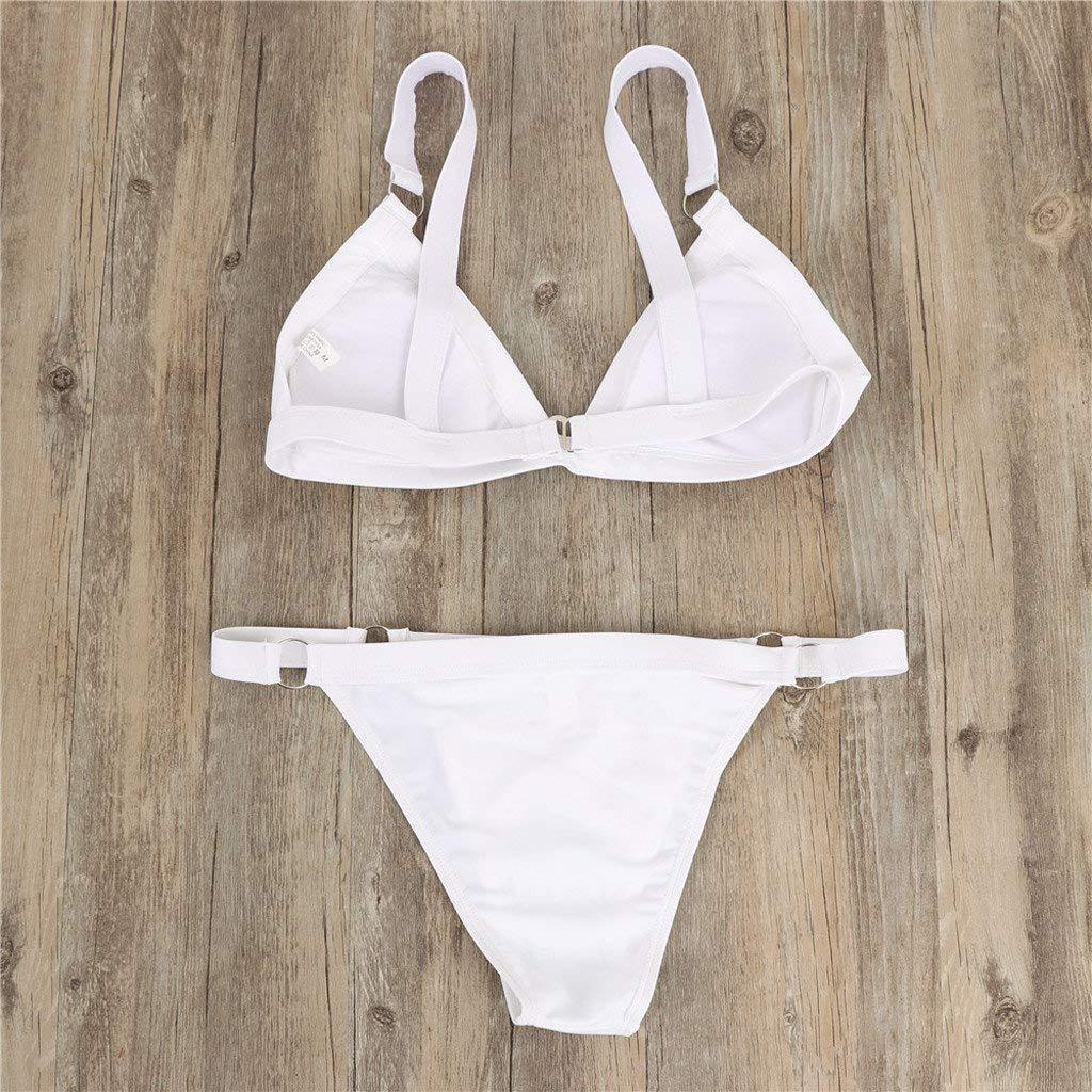 Ba/ñador 2019 Bikini Push Up Mujer Sin Respaldo Playa Bikinis Brasile/ños Bandage Traje de ba/ño brasile/ño Acolchado Color s/ólido Bra Biquinis Ropa de Playa riou