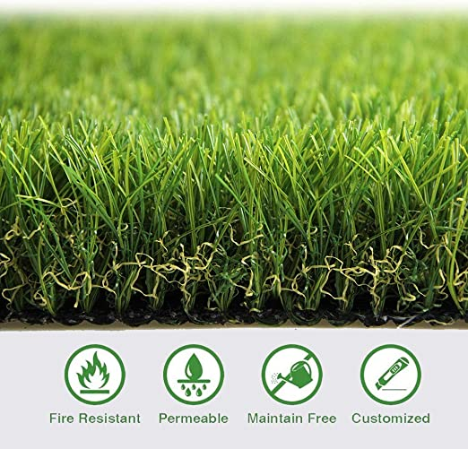 Al aire libre Espesor Alfombra de césped artificial Alfombra de césped artificial con orificios de drenaje y encriptación de goma Perfecta for jardines de césped sintético for interiores y exteriores: Amazon.es: Jardín