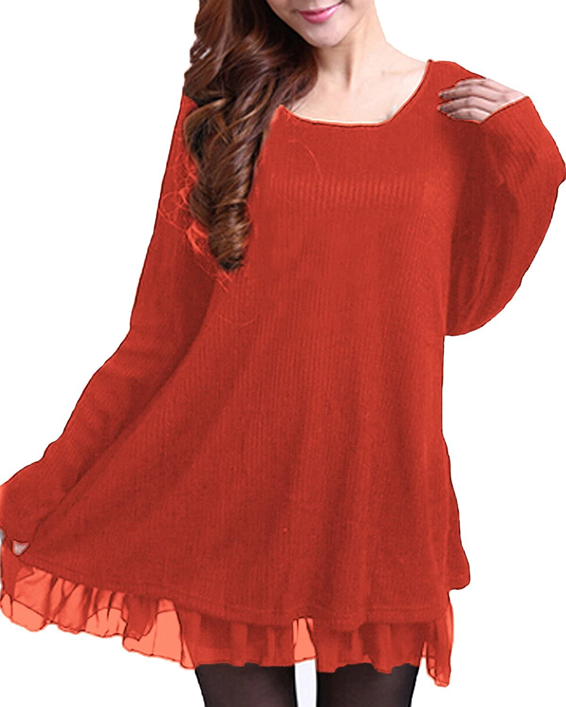 TALLA EU 36. ZANZEA Mujer Vestido Elegante Algodón Corto Casual Gasa Lazo Cuello Redondo Mangas Largas Vestidos Invierno Mujer Rojo1 EU 36