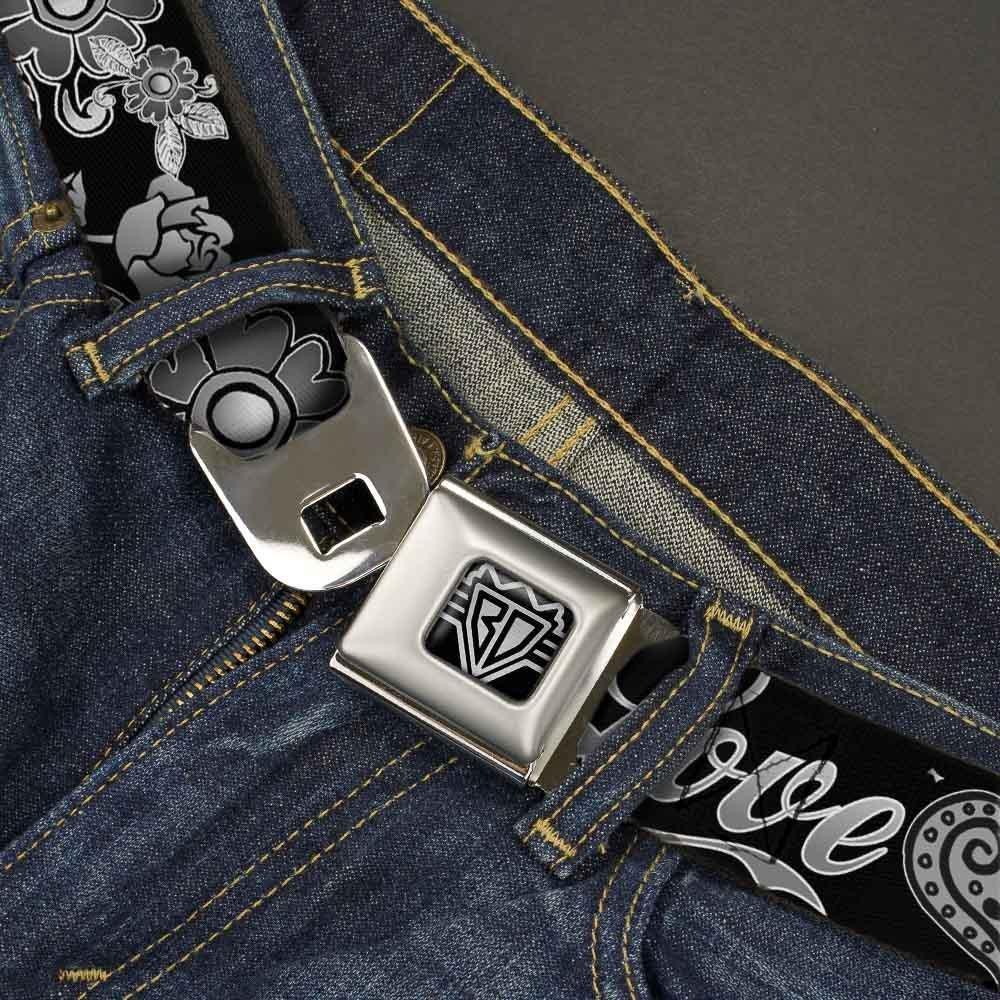 Buckle-Down Seatbelt Belt 1.5 Wide 32-52 Inches in Length Love Kills Black//White