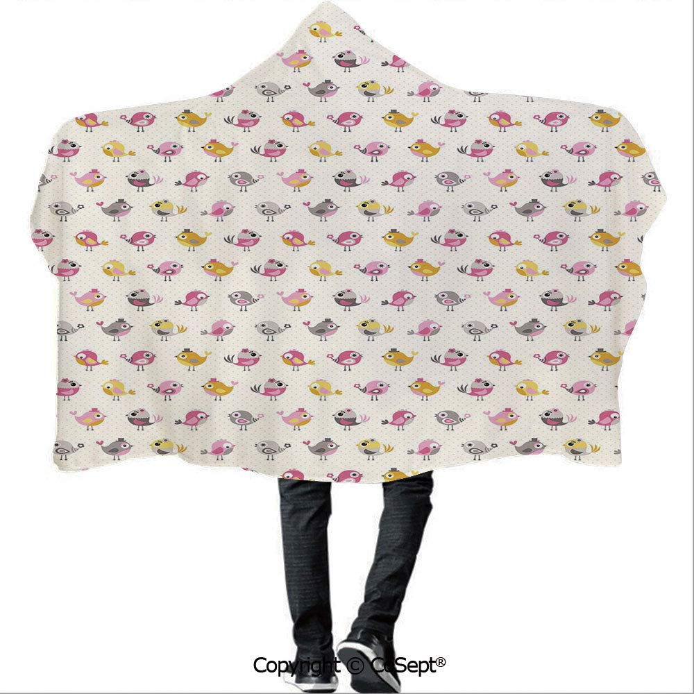 SCOCICI Wearable Hooded Blanket,Cartoon Style Birds with Fancy Funny Animals with Accessories Top Hat Flowers,for Adults and Children(59.05x78.74 inch),Pink Grey Marigold
