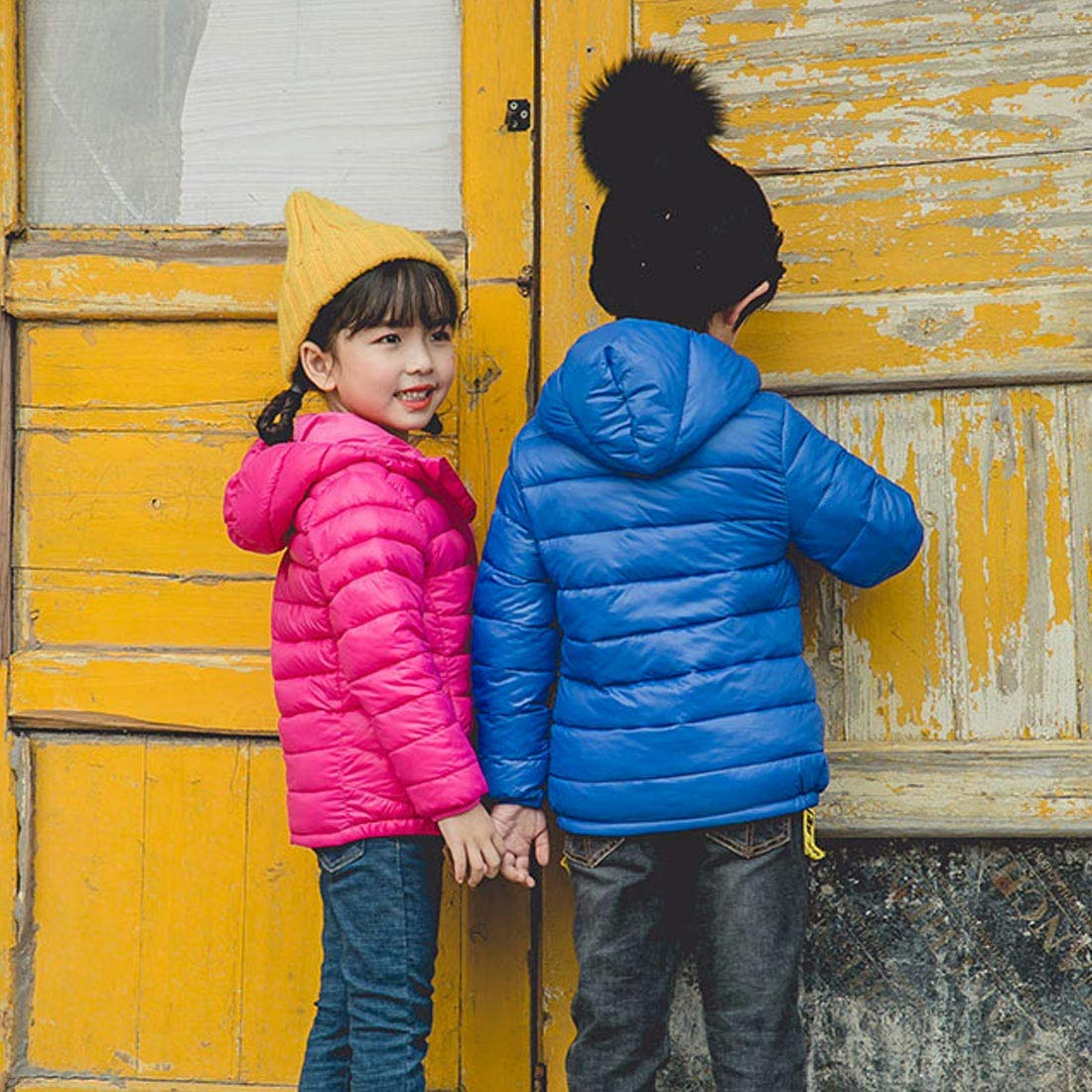 Girl Puffer Down Jacket Hooded Packable Lightweight Coat Winter Windproof Padded Outerwear Black 5-6T