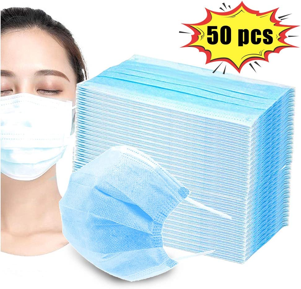Disposable Face Masks with Elastic Earloop, 3 Ply Breathable and Comfortable Disposable...