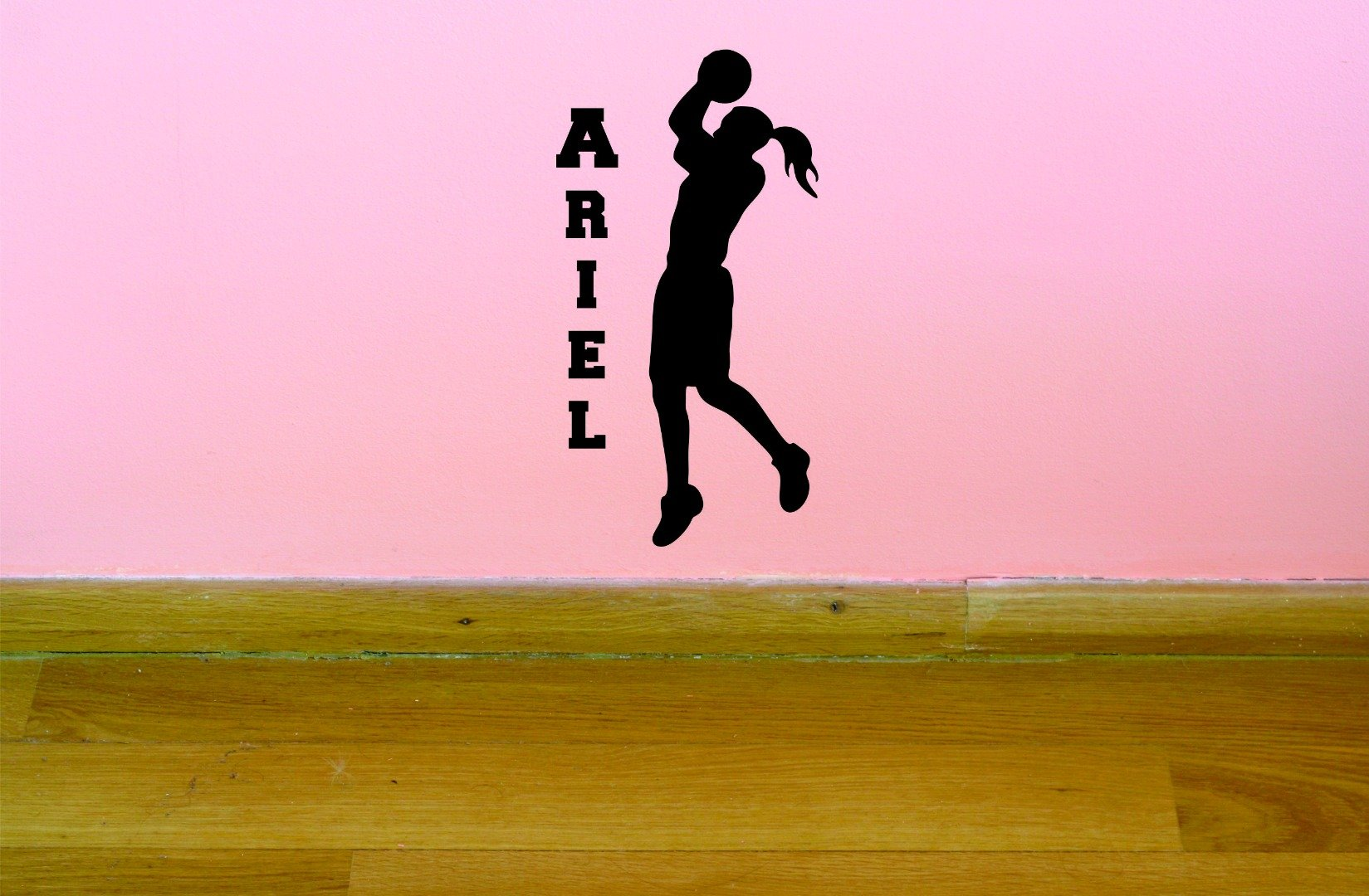 PERSONALIZED Custom Name Basketball Hoop Sports Team Girl Vinyl Wall Decal Sticker Children Bedroom 14 Inches x 28 Inches