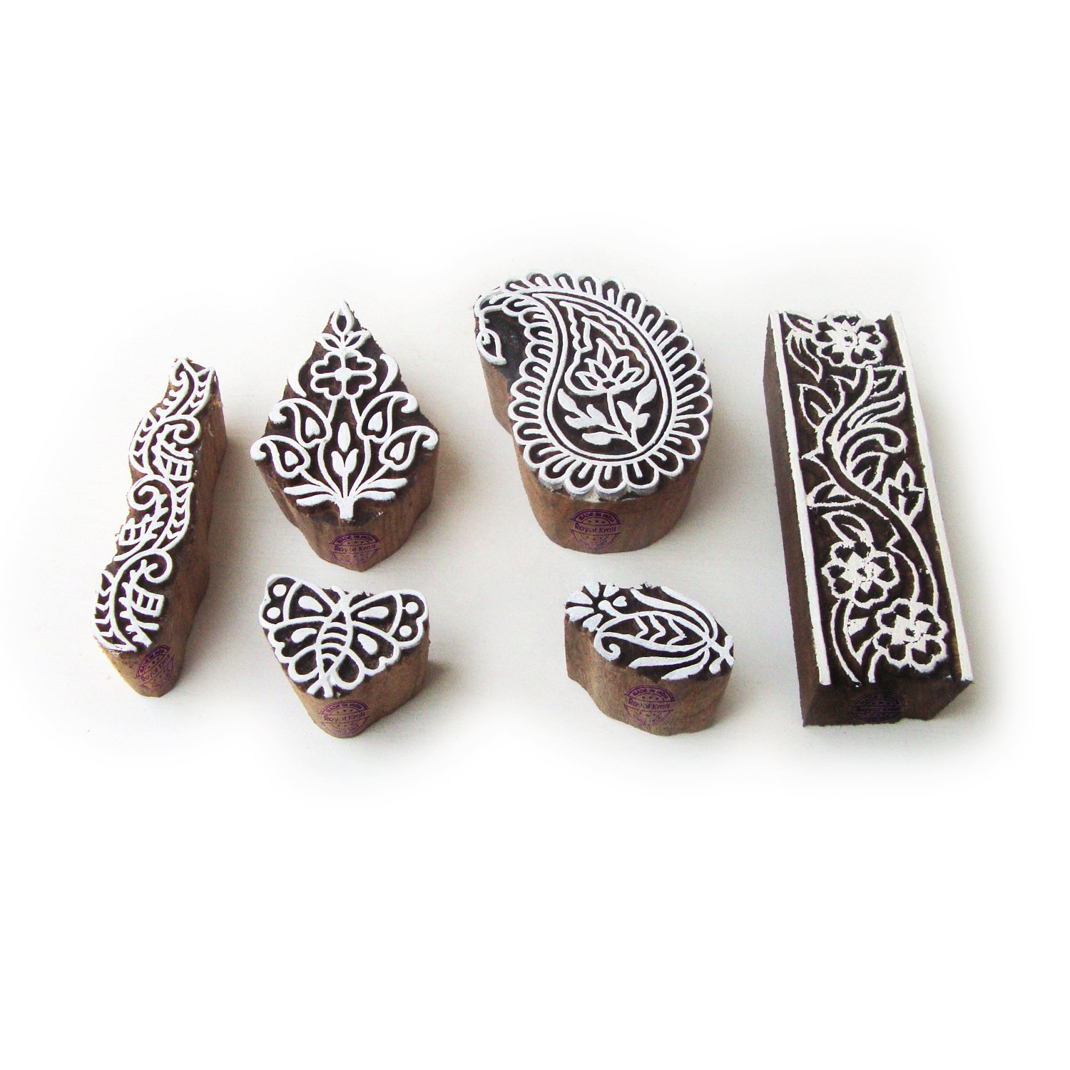 Set of 6 Indian Paisley and Butterfly Pattern Wood Stamps for Printing